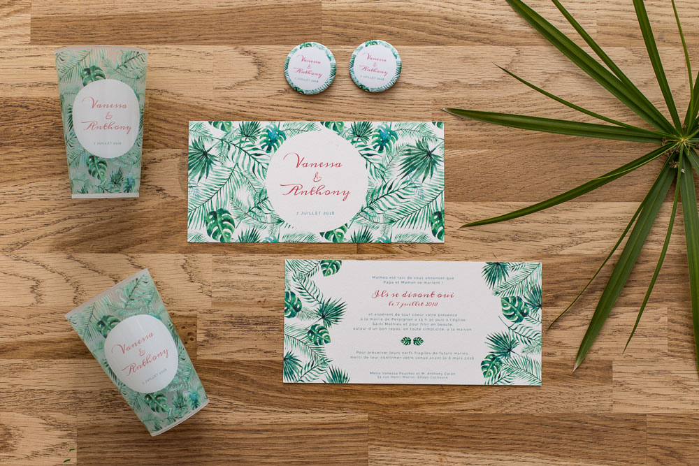 faire part mariage jungle tropical