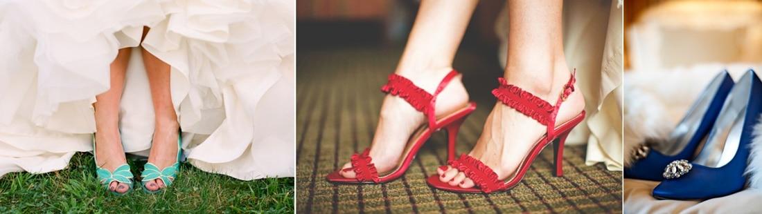 chaussures de mariee verte rouge et bleu