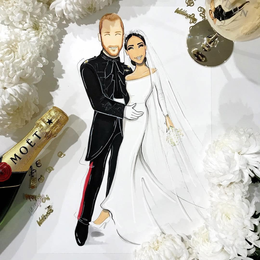 illustration mariage meghan markle et prince harry