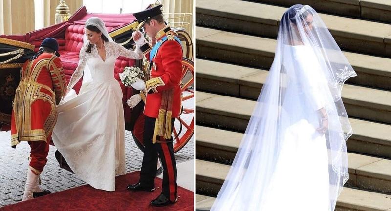 robe de mariee meghan markle versus robe de mariée Kate middlelton