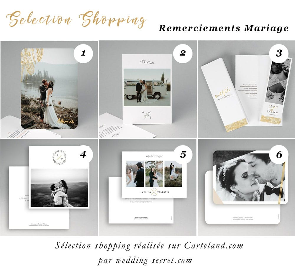 selection shppping remerciements mariage