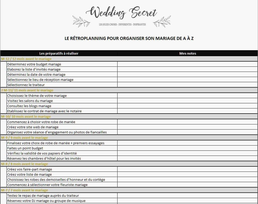 retroplanning mariage gratuit excel pdf