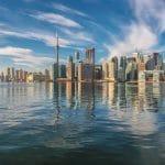 Beautiful Toronto City skyline on sunny day, Toronto, Ontario, Canada.