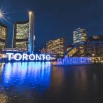 Nathan Phillips square in Toronto at night