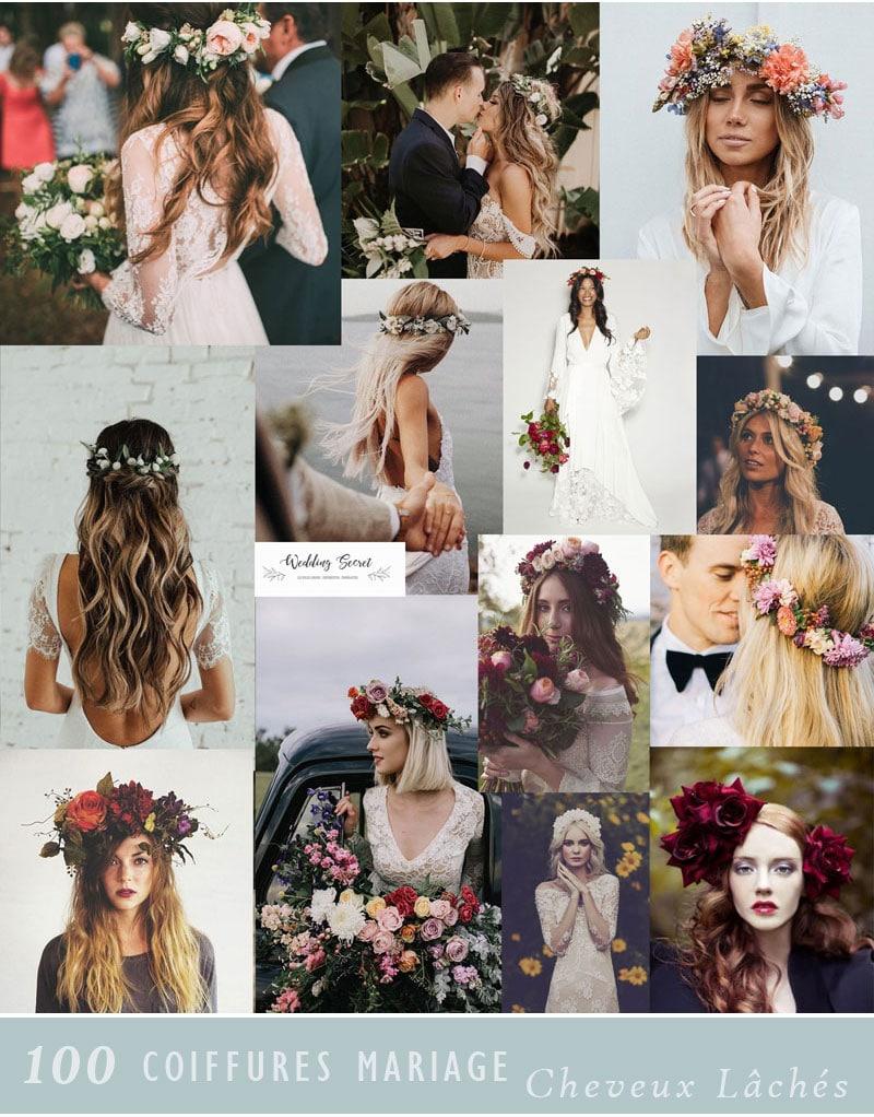 coiffure de mariage cheveux detaches et couronnes de fleurs