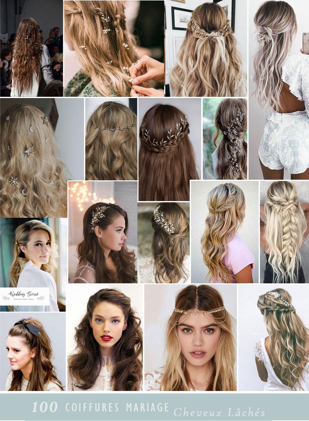 coiffure de mariée cheveux lachés ondulés bouclés