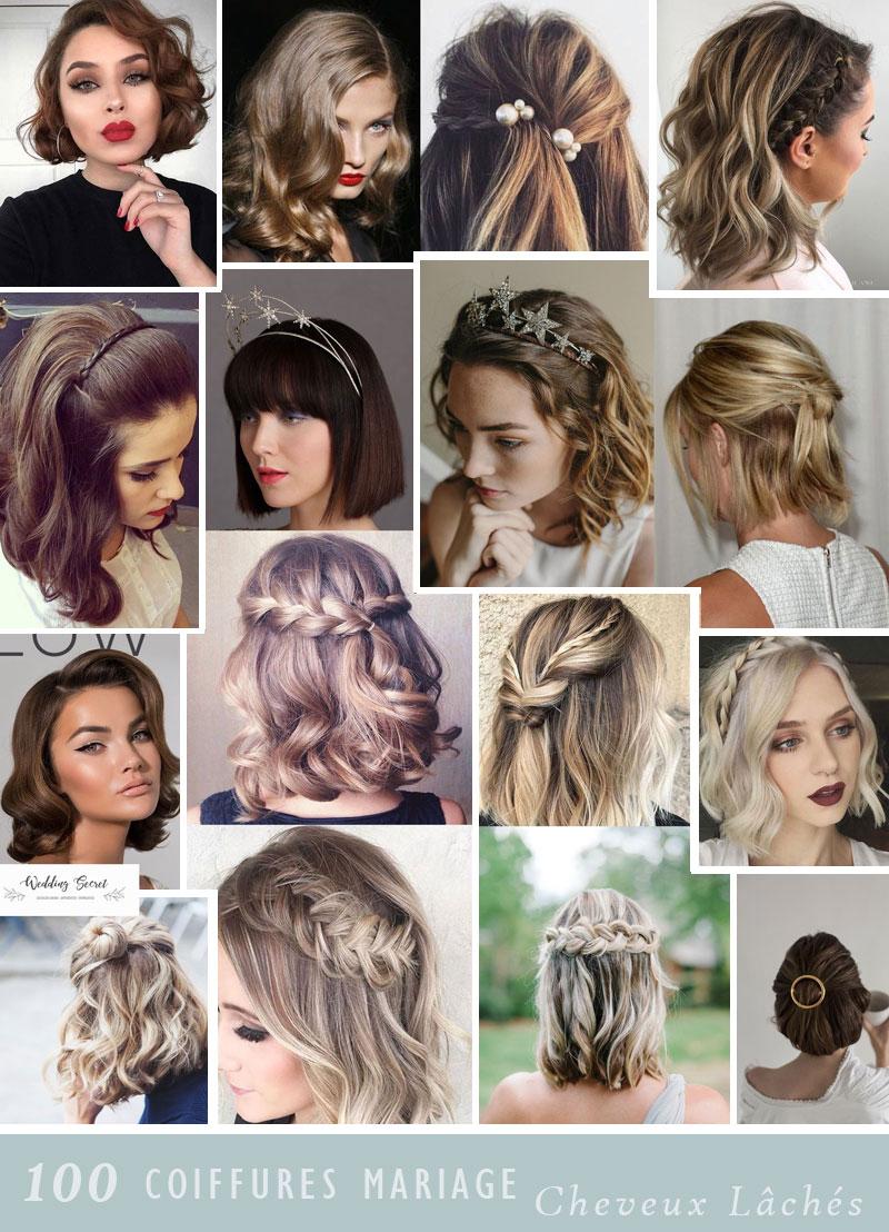 coiffure de mariée avec cheveux au carré ou mi longs