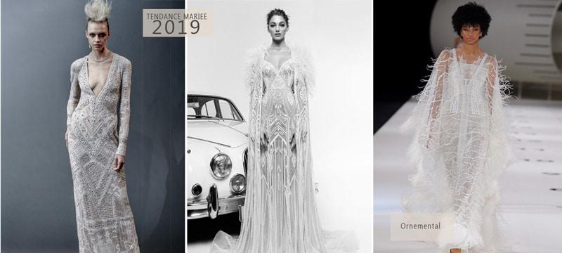 robe de mariée à perles et paillettes 2019