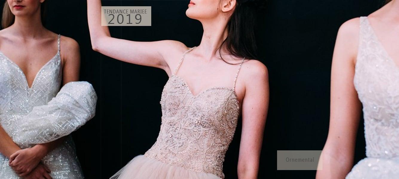 robe de mariée perles et plumes 2019