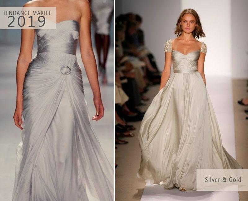 robe de mariée argent et or tendance 2019