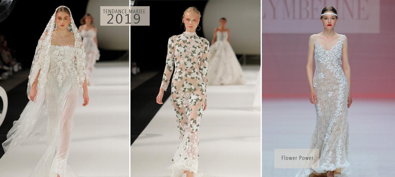 robe de mariée motif fleurs 2019