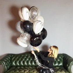 c bouquet de ballon noir et blanc marbré