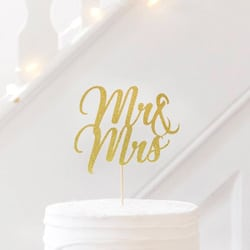 cake topper paillette mr mrs