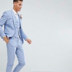 costume bleu perdrix mariage champetre chic