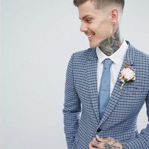 costume mariage a carreaux bleu clair