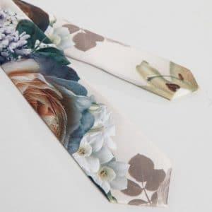 cravate fleuris beige bordeaux mariage champetre