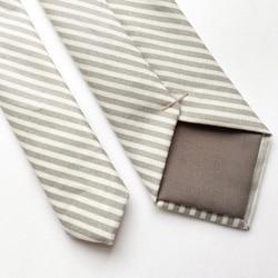 cravate rayee beige blanc