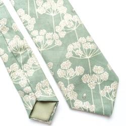 cravate vert deau fleurs