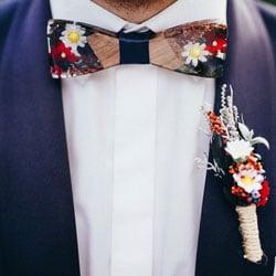ensemble noeud papillon et boutonniere mariage