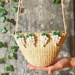 k panier osier avec perles mariage champetre