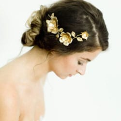 peigne cheveux mariage fleur or