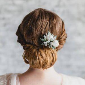 peigne cheveux mariage fleurs sechees et boutons de rose
