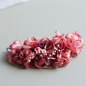 peigne cheveux mariage fleurs preservees rouge