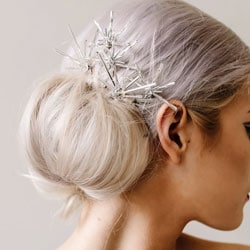 pinces cheveux mariage argent strass