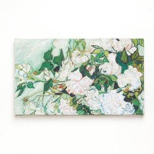 pochette a fleurs mariage champetre imprimé fleurs blanches vert