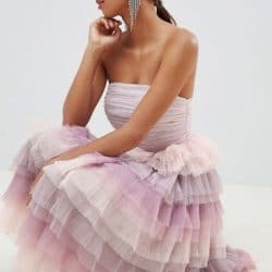 robe de demoiselles honneur a volants degradé de violet