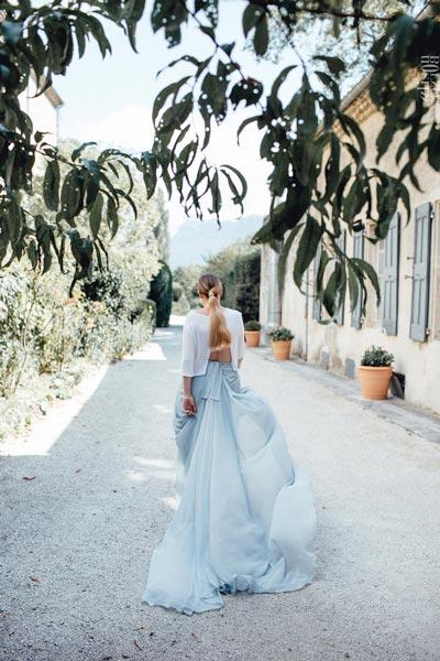 robe de mariee aurelie mey tulle bleu