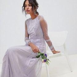 robe demoiselle honneur en dentelle lilas