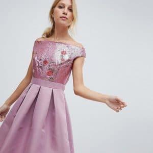robe demoiselle honneur encolure bardot motif fleurs