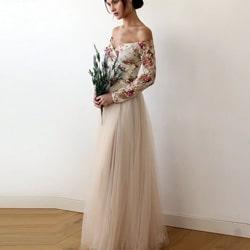 longue robe demoiselle honneur fleurs