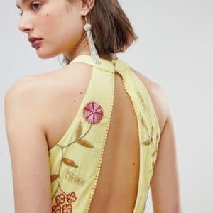 robe fleurs jaune mariage champetre