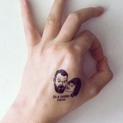 tatouage temporaire avec portrait des maries personalise