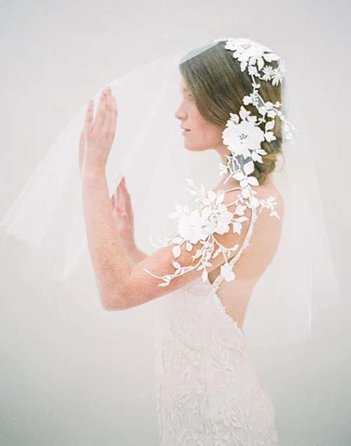 voile de mariage broderie fleurs