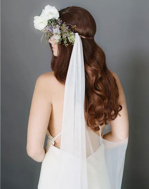 voile de mariage original fleurs