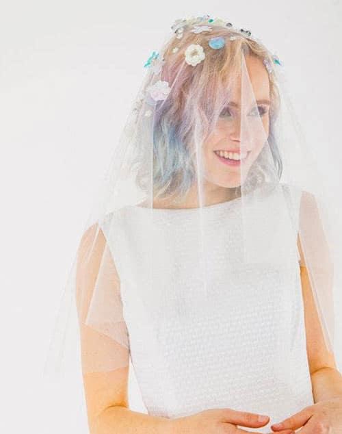 voile de mariage perles et sequins fleurs