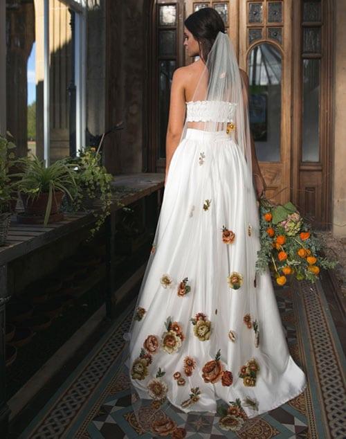 voile de mariee application fleurs