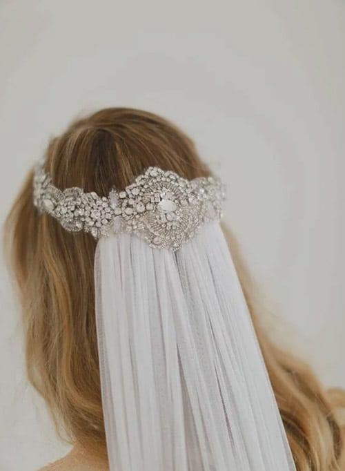voile de mariee avec couronne strass