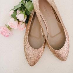 ballerine mariage paillettes or