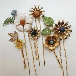 barettes fleurs emaillees