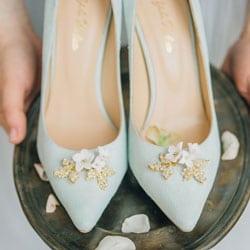 chaussures de mariee bleu clair