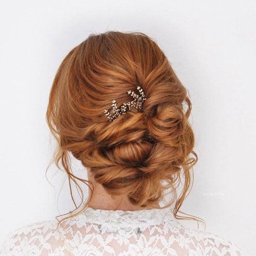 chignon de mariage avec peigne cheveux