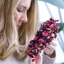 couronne fleurs preservees rose