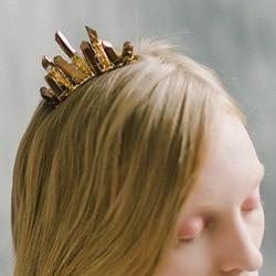 peigne cheveux or quartz