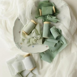 ruban de soie vert eau