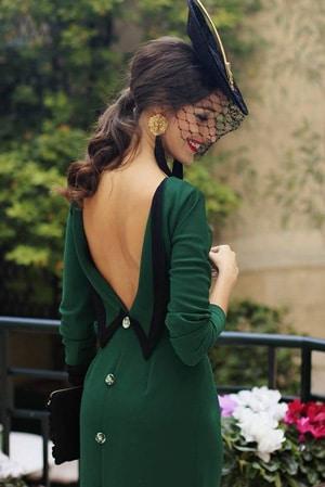 look invitee de mariage vert et noir