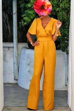 pantalon combinaison pour invitee de mariage en jaune